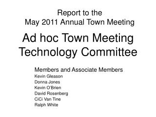 Ad hoc Town Meeting Technology Committee