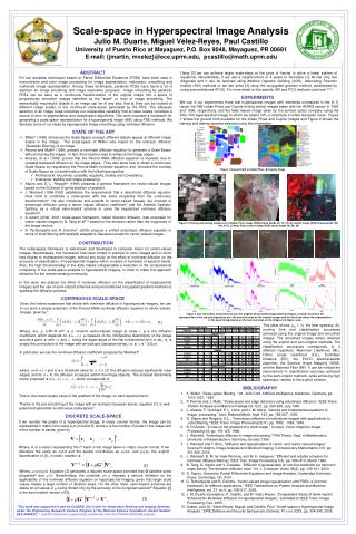 Scale-space in Hyperspectral Image Analysis Julio M. Duarte, Miguel V lez-Reyes, Paul Castillo University of Puerto Rico