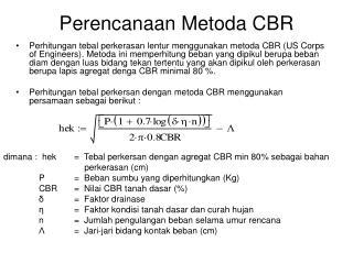 Perencanaan Metoda CBR