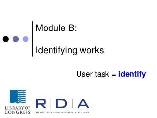 Module B: Identifying works