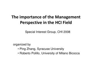 The importance of the Management Perspective in the HCI Field