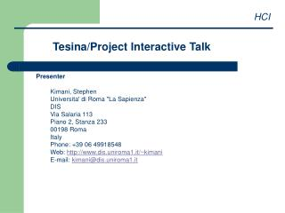 Tesina/Project Interactive Talk