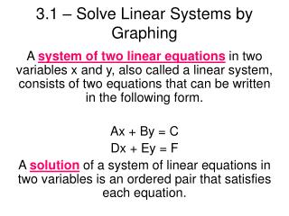 3.1 � Solve Linear Systems by Graphing
