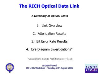 Andrew Powell UK LHCb Workshop - Tuesday, 23 rd  August 2005