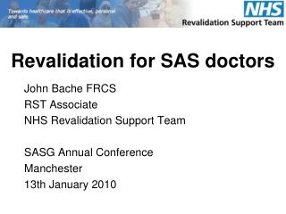 Revalidation for SAS doctors