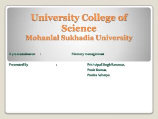 University College of Science Mohanlal Sukhadia University