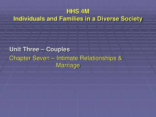 HHS 4M  Individuals and Families in a Diverse Society