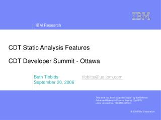CDT Static Analysis Features CDT Developer Summit - Ottawa