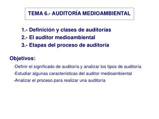 TEMA 6.- AUDITORÍA MEDIOAMBIENTAL