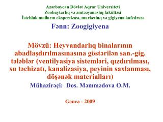 Fənn: Zoogigiyena