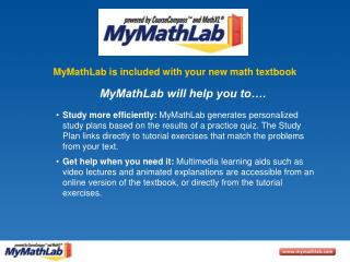 MyMathLab is included with your new math textbook