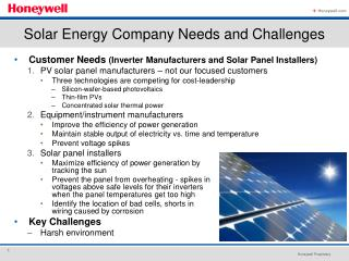 Customer Needs  (Inverter Manufacturers and Solar Panel Installers)