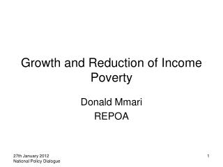 Growth and Reduction of Income Poverty