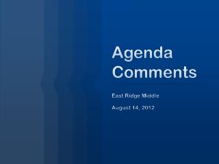 Agenda Comments