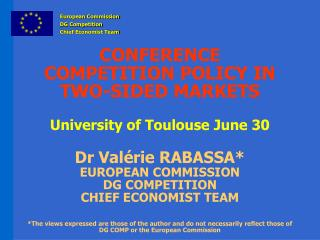 European Commission DG Competition Chief Economist  Team