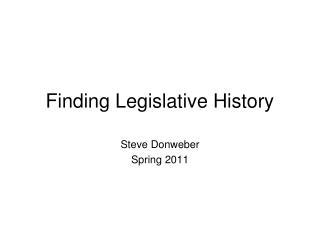 Finding Legislative History
