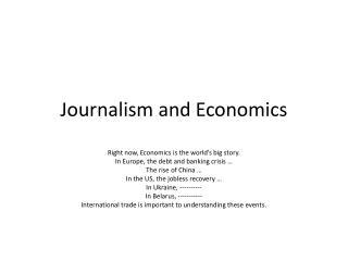 Journalism and Economics