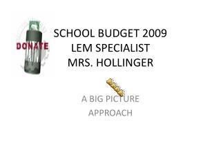 SCHOOL BUDGET 2009 LEM SPECIALIST MRS. HOLLINGER