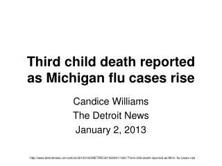 Third child death reported as Michigan flu cases rise