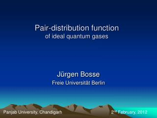 Pair-distribution function  of ideal quantum gases