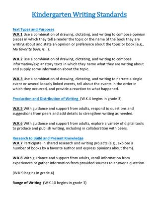 Kindergarten Writing Standards Text Types and Purposes