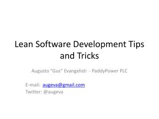 Lean Software Development Tips and Tricks