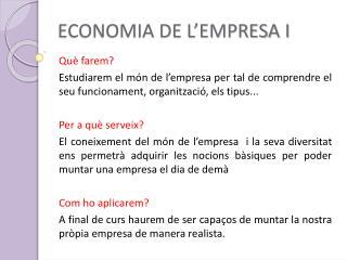 ECONOMIA DE L'EMPRESA I