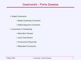 Constraints – Finite Domains