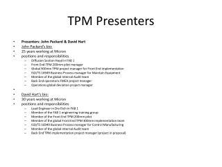 TPM Presenters