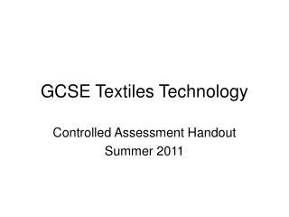 GCSE Textiles Technology