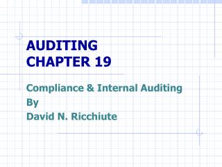 AUDITING CHAPTER 19