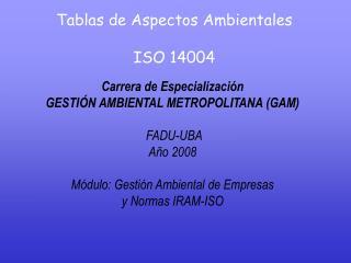 Tablas de Aspectos Ambientales ISO 14004