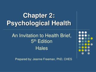 Chapter 2: Psychological Health