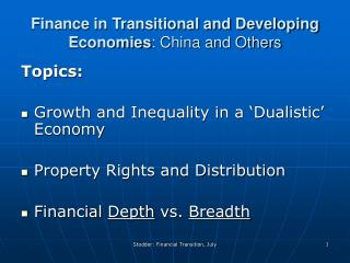 Finance in Transitional and Developing Economies : China and Others