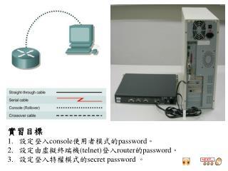 實習目標 設定登入 console 使用者模式的 password 。 設定由虛擬終端機 (telnet) 登入 router 的 password 。