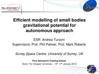Efficient modelling of small bodies gravitational potential for autonomous approach