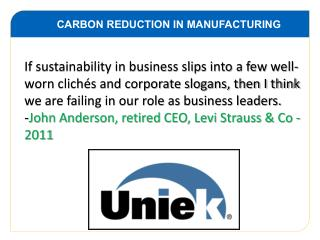 CARBON REDUCTION IN MANUFACTURING