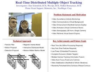 Real-Time Distributed Multiple Object Tracking Investigators: Dan Schonfeld, ECE; Wei Qu, ECE; Nidhal Bouaynaya, ECE Pri