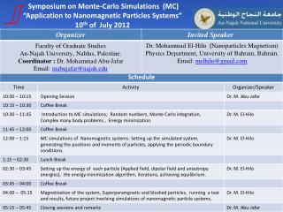 "Symposium on Monte-Carlo Simulations  (MC) ""Application to Nanomagnetic Particles Systems"""