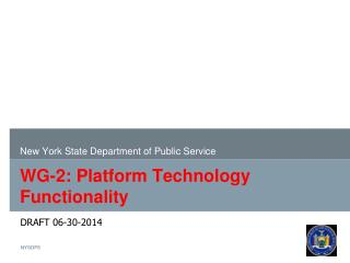 WG-2: Platform  Technology Functionality