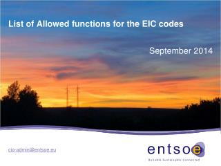 List of Allowed functions for the EIC codes