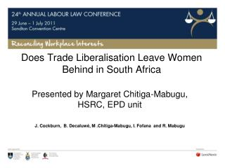Does Trade Liberalisation Leave Women Behind in South Africa