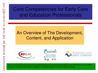 Core Competencies for Early Care and Education Professionals