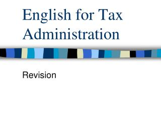 English for Tax Administration