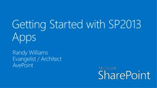 Getting Started with SP2013 Apps