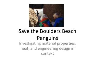 Save the Boulders Beach Penguins