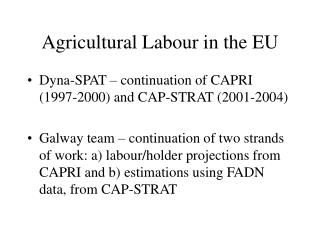 Agricultural Labour in the EU