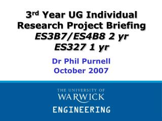 3 rd  Year UG Individual Research Project Briefing ES3B7/ES4B8 2 yr ES327 1 yr