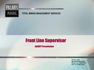 Front Line Supervisor