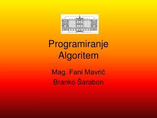Programiranje  Algoritem
